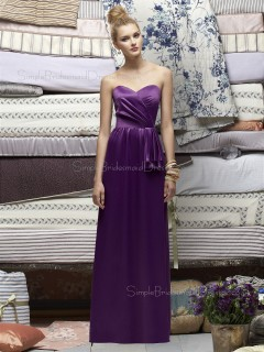 Column-Sheath Ruched Natural Floor-length Sleeveless Backless Sweetheart Grape Satin Bridesmaid Dress