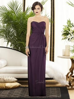 Backless-Zipper-Back Chiffon Floor-length Sleeveless Empire Grape Ruched-Ruffles Sweetheart Column-Sheath Bridesmaid Dress