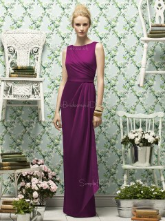Natural Chiffon Floor-length Purple Zipper-Back Scoop Sleeveless Sash-Ruched-Ruffles Column-Sheath Bridesmaid Dress
