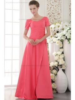 V-neck Satin Zipper Watermelon Short-Sleeve Sweep A-line Natural Beading/Side-Draped Bridesmaid Dress