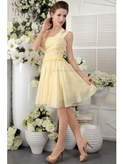 Champagne One-Shoulder Sleeveless Ruffles/Flowers/Draped Chiffon Natural Short-length Zipper Princess Bridesmaid Dress