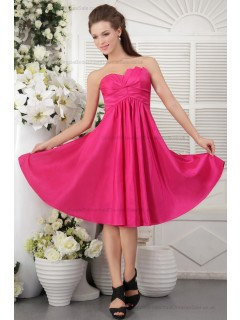 Sleeveless Short-length Pink Sweetheart Satin Ruffles/Draped Natural Zipper Princess Bridesmaid Dress