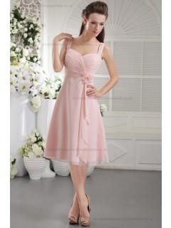 Chiffon/Elastic-Silk-like-Satin Sleeveless Natural Princess Zipper Straps Flowers/Ruffles Pink Short-length Bridesmaid Dress