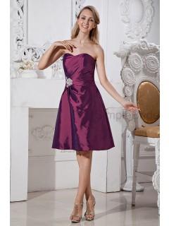 A-line Taffeta Grape Ruched/Beading Zipper Sleeveless Knee-length Sweetheart Natural Bridesmaid Dress