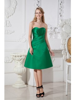 Sleeveless Knee-length Zipper A-line Natural Green Strapless/Sweetheart Ruched Satin Bridesmaid Dress