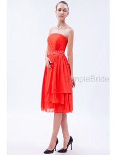 A-line Tea-length Orange Sequins/Beading/Layers Sleeveless Chiffon Strapless Natural Zipper Bridesmaid Dress
