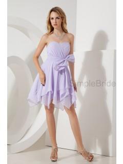 Sweetheart Natural Ruched/Bow Knee-length Sleeveless Sheath Lilac Zipper Chiffon Bridesmaid Dress