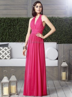 Sleeveless Zipper Chiffon Floor-length V-neck Empire posie watermelon Column/Sheath Draped Bridesmaid Dress