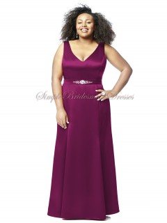 Straps Floor-length burgundy Sleeveless Satin merlot Zipper A-line Beading/Sash Natural Bridesmaid Dress