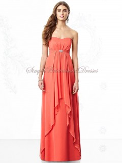 Draped/Beading Sleeveless Chiffon Floor-length Zipper Strapless/Sweetheart firecracker A-line Empire Orange Bridesmaid Dress