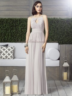 A-line taupe Chiffon Empire Floor-length taupe Sleeveless Zipper Halter Ruched/Draped Bridesmaid Dress