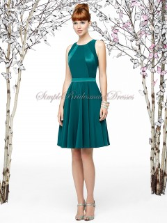 Sash/Draped Hunter Satin Sleeveless A-line Short-length Natural jade Halter Zipper Bridesmaid Dress