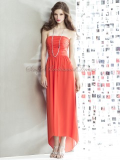 Tea-length amethyst Sleeveless Zipper Strapless Orange Ruched Column/Sheath Natural Chiffon Bridesmaid Dress