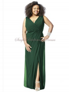 Column/Sheath Dark Empire Sleeveless Floor-length Draped/Split Green Zipper Hampton-Green V-neck Chiffon Bridesmaid Dress