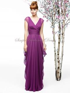 Lilac Zipper A-line Chiffon V-neck wild-berry Floor-length Draped Sleeveless Empire Bridesmaid Dress