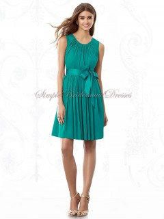 Sleeveless Scoop Chiffon Natural Bow/Draped A-line Short-length Hunter jade Zipper Bridesmaid Dress