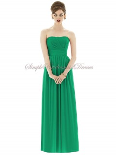 Bateau/Strapless Dropped Green Chiffon Draped Floor-length Zipper A-line Sleeveless PANTONE-Emerald Bridesmaid Dress