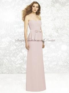Zipper Floor-length Sleeveless cameo Pink Chiffon Strapless/Sweetheart Column/Sheath Natural Tiered/Sash Bridesmaid Dress