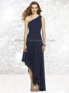 Draped Dropped A-line midnight Sleeveless Dark-Navy Floor-length Zipper One-Shoulder Chiffon Bridesmaid Dress
