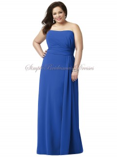 Bateau/Strapless Floor-length Natural Sleeveless Draped sapphire Royal-Blue Zipper-Side Chiffon A-line Bridesmaid Dress