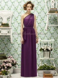 Zipper-Side A-line Chiffon Sleeveless Grape Natural wild-berry Draped/Bow One-Shoulder Floor-length Bridesmaid Dress