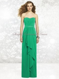 Zipper Chiffon Draped/Sash Strapless/Sweetheart Green Floor-length Column/Sheath Natural Sleeveless PANTONE-Emerald Bridesmaid Dress