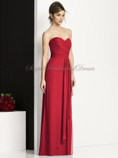 valentine Floor-length Sleeveless Chiffon Strapless/Sweetheart Natural red Ruched Column/Sheath Zipper Bridesmaid Dress