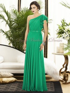 Chiffon Floor-length Zipper-Side Draped/Sash PANTONE-Emerald One-Shoulder A-line Natural Green Sleeveless Bridesmaid Dress