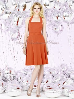 Draped/Bow Short-length Orange Scoop Sleeveless A-line Chiffon tangerine-tango Zipper Natural Bridesmaid Dress