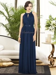 Jewel Floor-length Draped/Sash Zipper-Side A-line Chiffon Natural Sleeveless midnight Dark-Navy Bridesmaid Dress