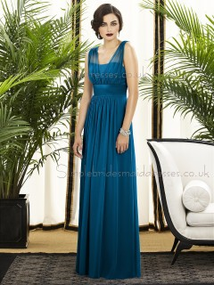 Sleeveless Draped/Sash Zipper windsor-blue Empire Floor-length A-line Blue Straps Chiffon Bridesmaid Dress