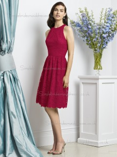 Red Scoop Sleeveless Natural Short-length Lace Lace A-line Bridesmaid Dress