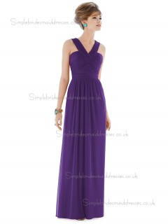 Majestic / Purple Floor-length V-neck Column / Sheath Draped Chiffon Natural Sleeveless Bridesmaid Dress