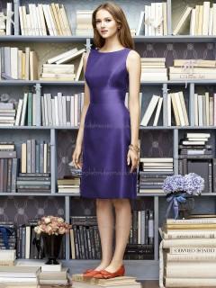 Purple A-line Bateau Sleeveless Sash Knee-length Satin Empire Bridesmaid Dress
