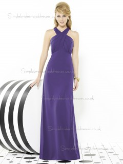 Regalia / Purple Mermaid Chiffon Floor-length V-neck Sleeveless Empire Ruched Bridesmaid Dress