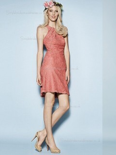 Pink Scoop Lace A-line Natural Short-length Bridesmaid Dress