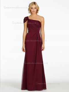 Burgundy A-line One Shoulder Natural Floor-length Chiffon Bridesmaid Dress