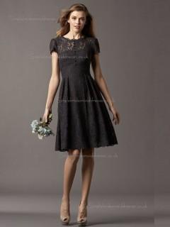 Black Lace A-line Bateau Natural Knee-length Bridesmaid Dress