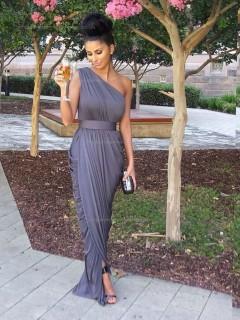 Lavender One Shoulder Floor-length Chiffon Empire Column / Sheath Bridesmaid Dress