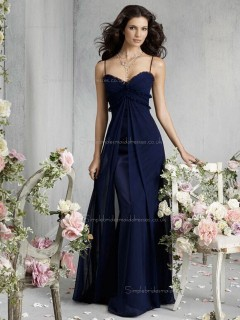 Dark Navy Floor-length Chiffon Empire Sweetheart A-line Bridesmaid Dress