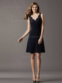 Black Natural Short-length Lace V-neck A-line Bridesmaid Dress