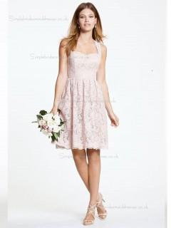 Pink Short-length Natural Sweetheart A-line Lace Bridesmaid Dress