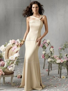 Champagne Floor-length Chiffon Natural Mermaid Bridesmaid Dress