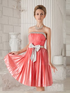 Watermelon A-line Satin Natural Strapless Knee-length Bridesmaid Dress