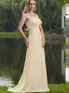 Champagne Sweep Chiffon Empire A-line One Shoulder Bridesmaid Dress