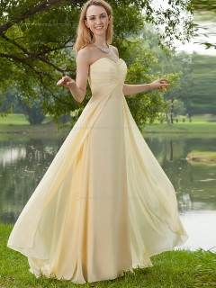 Champagne A-line Chiffon Floor-length Sweetheart Empire Bridesmaid Dress