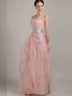 Pink Tulle A-line One Shoulder Empire Floor-length Bridesmaid Dress