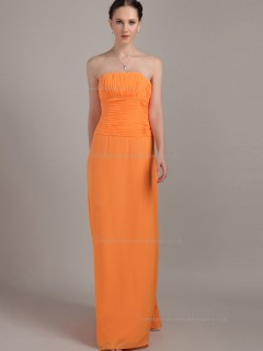 Orange Floor-length Empire Chiffon Column / Sheath Strapless Bridesmaid Dress