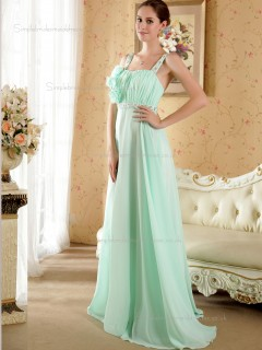Green Sweep Spaghetti Straps Chiffon Empire A-line Bridesmaid Dress