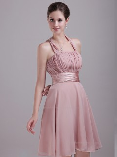 Pink A-line Chiffon Short-length Empire Halter Bridesmaid Dress